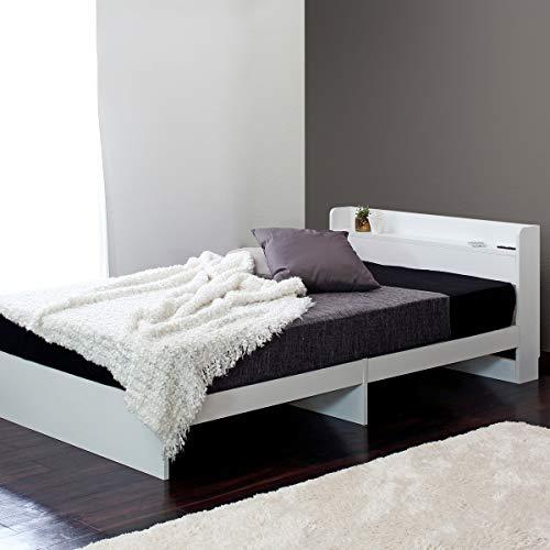 【フレームのみ 引き出しなしモデル】棚 ベット 木製ベッド コンセント付き ベット ベッド カラー:ホワイト 白 サイズ:Sサイズ シングル