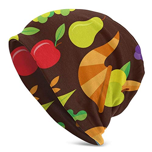 Día de Acción de Gracias Patrón Plano Gorro Unisex Gorro de Calavera Sombrero de Invierno Cálido Sombrero de Punto