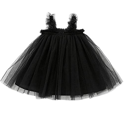 Reciy  Baby Mädchen Kleinkind Tutu Kleid ärmellose Prinzessin Infant Tüll Kleid, 12 Monate, Black