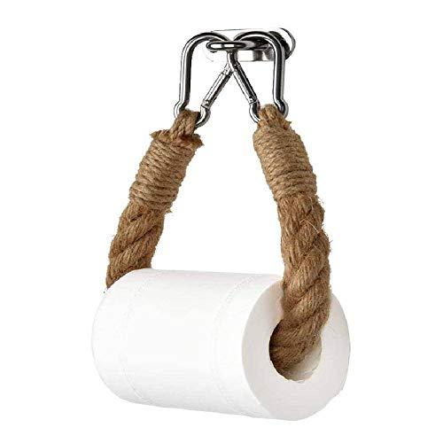 N\C Soporte de Rollo de Papel de Cuerda de cáñamo para Inodoro Soporte de Toalla de Papel Hecho a Mano para Colgar en la Pared Creativo