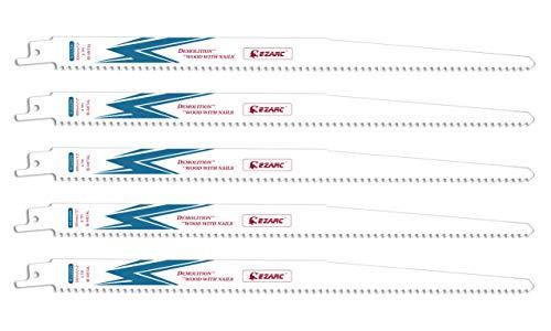 EZARC Reciprocating Saw Blade Bi-Metal Cobalt Sabre Saw Blades for Wood Demolition 12-Inch 6TPI R1222DH (5-Pack)