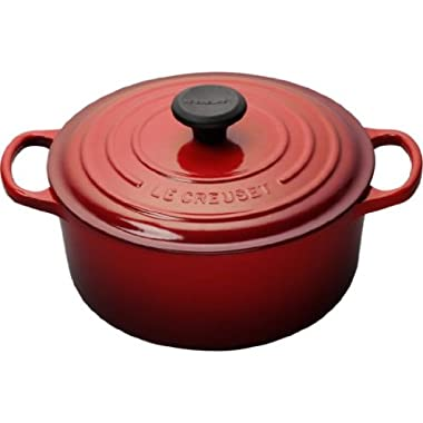 Le Creuset Signature Enameled Cast-Iron 4-1/2-Quart Round French (Dutch) Oven, Cerise (Cherry Red)