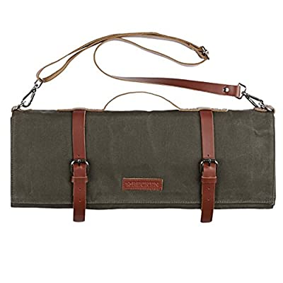 Knife Bag - Chef Knife Roll Waxed Canvas and Leather 10 Pocket + Zipper Pouch and Shoulder Strap, Handmade Professional Travel Case by Becken Leather Co.