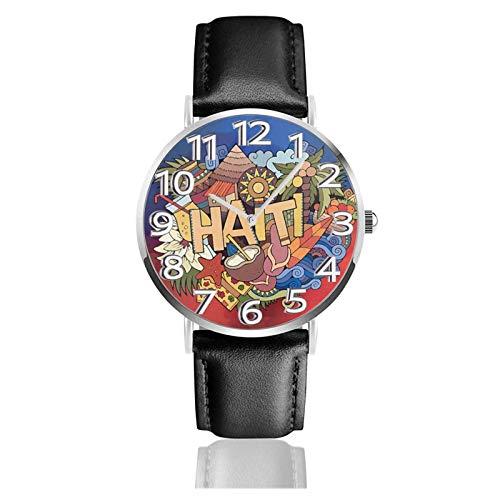 Reloj de Pulsera Haití Letras Doodles Elements Durable PU Correa de Cuero Relojes de Negocios de Cuarzo Reloj de Pulsera Informal Unisex
