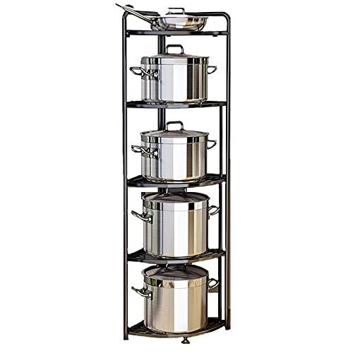 Estante de esquina, estante de esquina, organizador de almacenamiento de estante de ollas de varias capas, estante de acero inoxidable, para organizador de cocina de oficina en casa,5 tiers