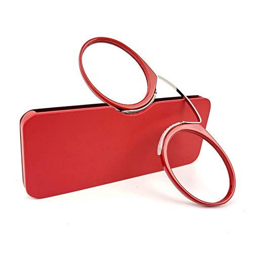 Unisex Lesegläser Kompakte Sehehilfe Mini Nose Clip Bügellose Lesebrille Rutschfest Lesehilfe- Immer griffbereit(Rot,+1.0)