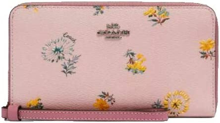 Coach Large Phone Wallet Pink Dandelion Blossom