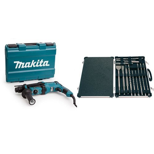 Makita - Martillo Rotativo Combinado 26Mm Hr2630 + SDS Plus - Kit de bs y cinceles (17 piezas)