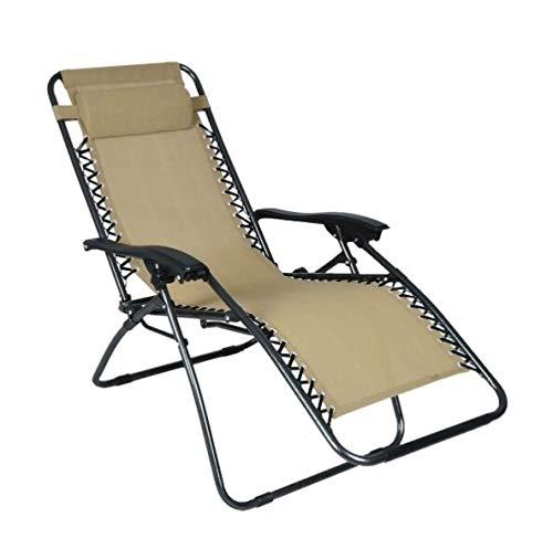 Sedia sdraio Gravity pieghevole in metallo con textilene beige regolabile in 2 posizioni con poggiatesta