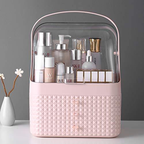 HOODIE Cosmetische Opbergdoos Plank Desktop Opslag Stof Huidverzorging Product Opslag Rack Make-up Doos Dressing Tafel Lipstick Doos, Roze