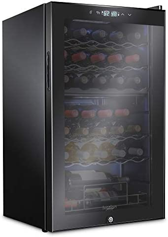Ivation 33 Bottle Dual Zone Wine Cooler Refrigerator w Lock Large Freestanding Wine Cellar For product image