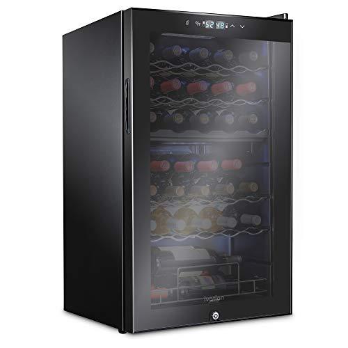 Ivation 33 Bottle Dual Zone Wine Cooler Refrigerator w/Lock | Large Freestanding Wine Cellar For Red, White, Champagne & Sparkling Wine | 41f-64f Digital Temperature Control Fridge Glass Door Black