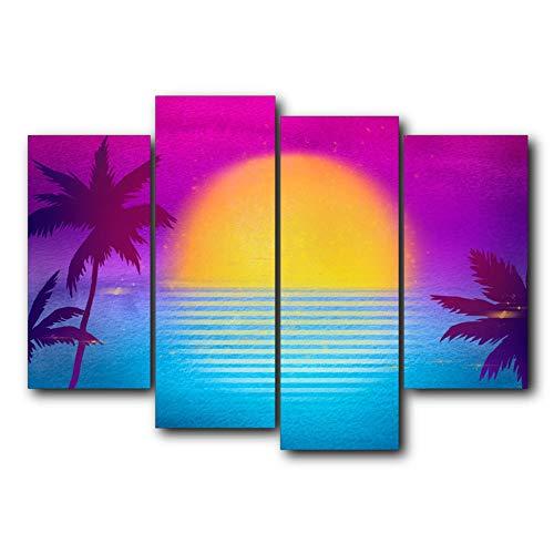 N / A 4 Panel Poster Leinwand Malerei Drucke Sonnenaufgang Palme Sea Wall Art Dekorieren Familien Wohnzimmer Rahmenlos 15x30 cm