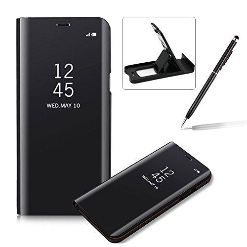 Coque iPhone X Clapet, Herzzer Housse Étui en PU Cuir Luxe Placage Technologie avec Transparente Miroir Design Bumper Dur PC Backcover Protector Fonct