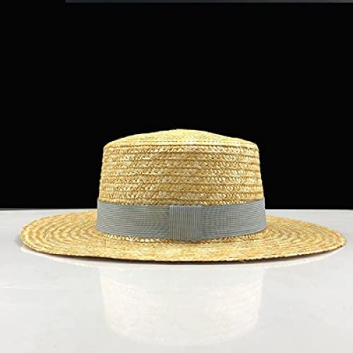 NJJX Sombreros De Sol Planos Sencillos para Niñas De Verano para Mujer, Sombrero De Paja Estilo Panamá, Gorra De Playa con Perlas, 55-58 Cm 03