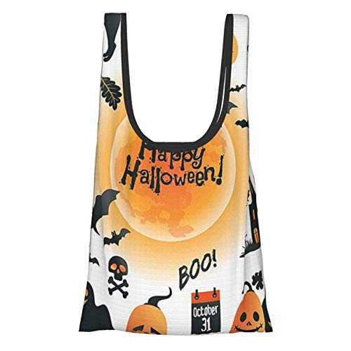 Hdaw Bolsas de la compra ecológicas para Halloween con diseño de todas las reliquias y objetos del día encantados, búhos y trucos o golosinas, color naranja y negro, reutilizables.