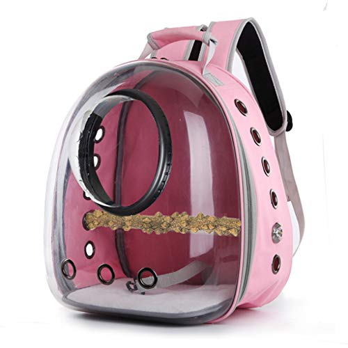 niumanery Parrot Carrier Backpack Travel Cage Birds Breathable Transparent Space Capsule Pink