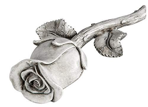 dekojohnson Grabschmuck wetterfest Grabstein Rose Steinrose Dekorose mit Blüte Gedenkstein liebevolle Grabdekoration antik grau 18cm
