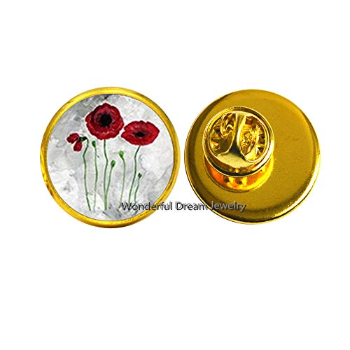 Red Poppies Pin, Poppies Brooch, Art Pin, Red Poppy Jewelry,Red Poppies Pin, Floral Brooch,PU047 (Gola)