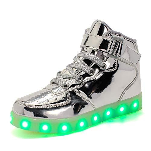 Skyeagle Damen Herren Kinder 7 Farben LED Light up Schuhe USB Aufladen Sneaker Leuchtschuhe Blinkschuhe High-Top Schuhe für Jungen und Mädchen (32 EU, Silber)