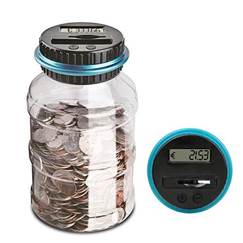 JZK Trasparente plastica Digitale Barattolo salvadanaio contamonete Euro Grande contasoldi Conta Monete Euro salvadanaio contatore Automatico