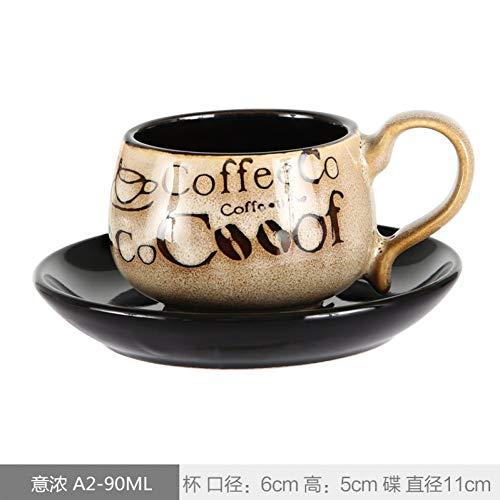 AICUP 90Ml Espressotassen Und Untertassen Handbemalte Trompete Größe Mini Latte Tassen Personalisiert Retro