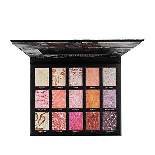 Lidschatten Palette, Luckyfine Marmoriert Wasserdicht 15 Farben Eyeshadow Palette Professional...