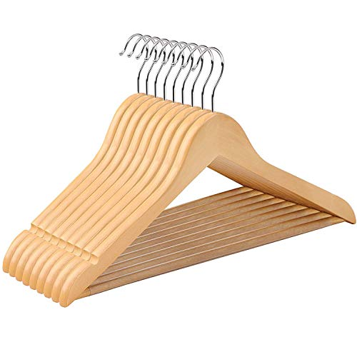 SONGMICS 10 pieces Wooden Clothes Hangers, edges with...