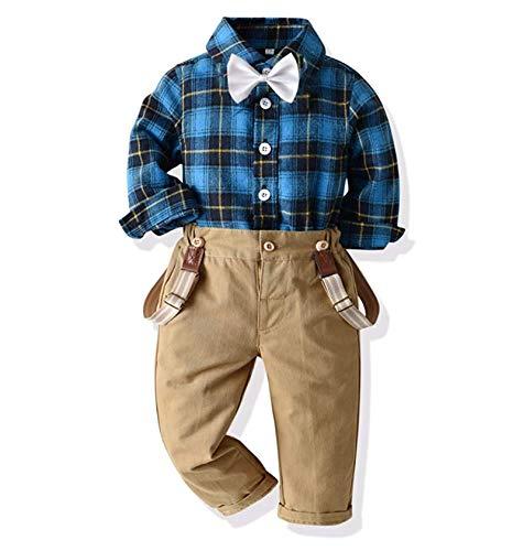 Geagodelia Gentiluomo - Conjunto de ropa de bebé con pajarita, mono vaquero para niños, con tirantes, camisa con lazo + pantalones para otoño e invierno Blu C 6-9 Meses
