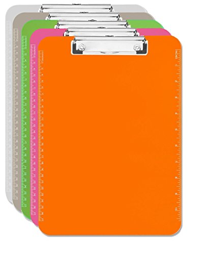 5 Clipboard Muti Pack (Clear, Smoke, Orange, Green, Pink) 1 of Each - 9 by 12 inch