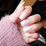 JAWSEU 24 unidades de uñas postizas francesas para pegar, uñas postizas completas, uñas postizas para salón de uñas y arte de uñas para hacer uno mismo, color rosa y blanco