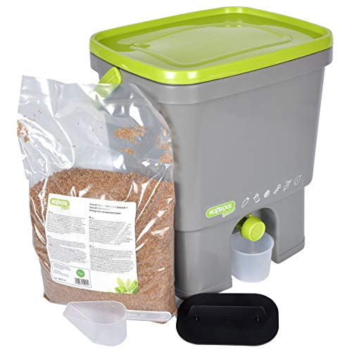 Best Prices! Hozelock Ltd 4193 0000 Bokashi Composter with 1Kg of Bran, 16 Litre, Grey