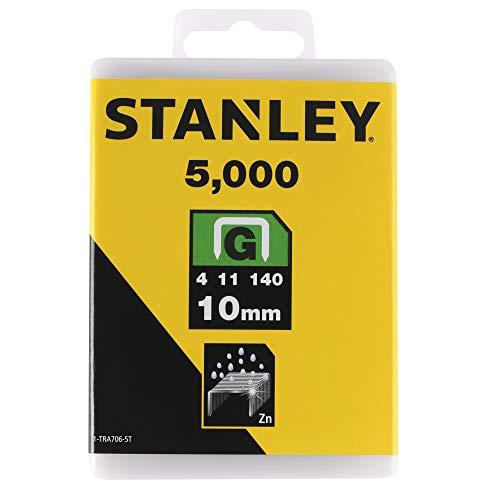 Stanley Klammern Typ G (10 mm, aus Flachdraht, wiederverschließbare Verpackung, rostbeständig) 5000 Stück, 1-TRA706-5T