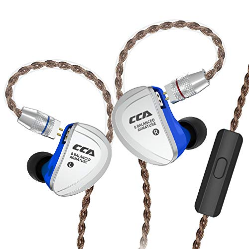 CCA C16 Total 16 Units Balanced Armatures Driver HiFi in-Ear Earphone,Best Precision Metal in Ear Headphone/Earphone with 4N Silver Plated Detachable Cable,Gold Plated 0.78mm 2 Pins Plug(with mic)