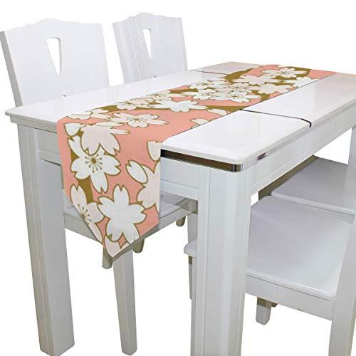 N/A Eettafel Runner Of Dresser Sjaal, Roze en Gouden Kersen Deck Tafelkleed Runner Koffie Mat voor Bruiloft Partij Banket Decoratie 13 x 90 inch