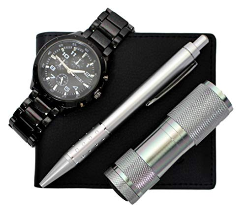 Bellos - Set Regalo Composto Da Orologio Da Uomo + Portafoglio + Penna + Coltello Multifunzione