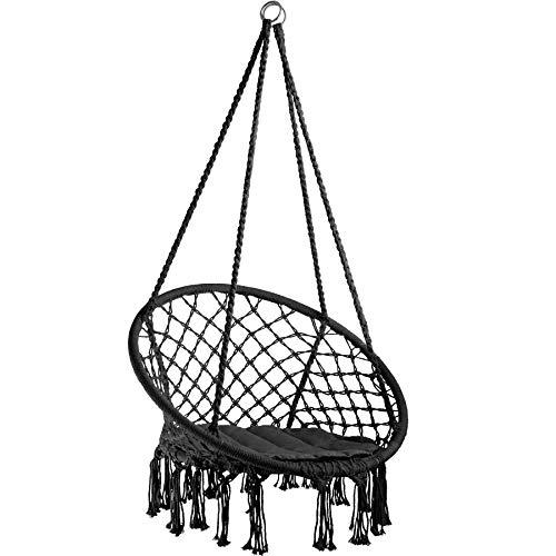 TecTake 800689 - Hamac Chaise Suspendu Design 1 Personne, Intérieur extérieur, Coussin d'Assise Inclus - Plusieurs Couleurs - (Noir | no. 403115-2)
