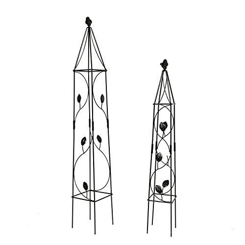 1.Go 2Packs Obélisque de Jardin Treillis Métallique Fleur Support pour Plantes grimpantes et Plantes, 80x 11,9cm et 100,1x 15cm