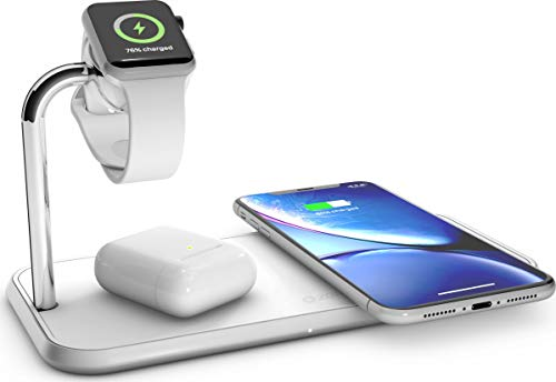 ZENS Qi/MFi-zertifiziertes Aluminium 3fach-Ladegerät für 2 Geräte + Apple Watch, Fast Charging für Apple iPhone & Samsung Galaxy - Kompatibel mit allen Qi-fähigen Geräten