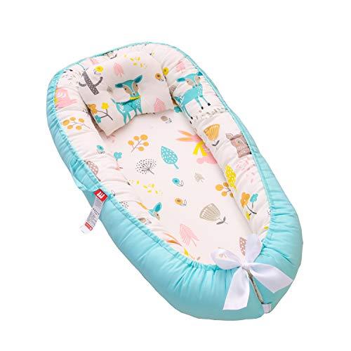 TEALP Cama Nido de Bebé Recién Nacido, Cuna de Viaje Portátil, Cuna para bebé recién nacido para 0 a 24 meses, Conejo celeste