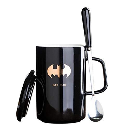 Tasse à café en céramique Creative Avengers Justice League avec Couvercle et cuillère, Tasse à Lait de Haute qualité Batman pour Le Bureau et la Maison, Meilleur Cadeau 400 ML