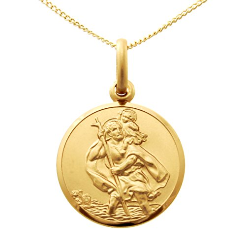 9ct Gold St Christopher Pendant Necklace - 14mm - with 18' Chain and jewellery gift box