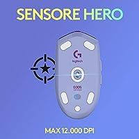 Logitech G305 Mouse Gaming Wireless Lightspeed, Sensore HERO, Lilla + Logitech G733 Lightspeed Cuffia Wireless con Microfono Gaming, Lilla #5