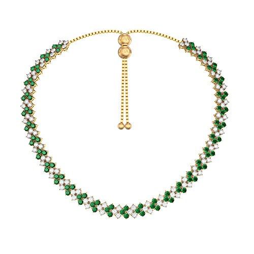 Eternity tre fila tennis CZ argento placcato oro 18kt girocollo regolabile con smeraldi e diamanti collana