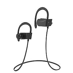 Ecouteurs Bluetooth Sans fil,Oreillette Bluetooth 4.1 Casque de Sport Stéréo Tour de Cou Oreillettes de Course Intra-Auriculaires avec Microphone pour iPhone, iPad, Samsung, Huawei etc (Noir)