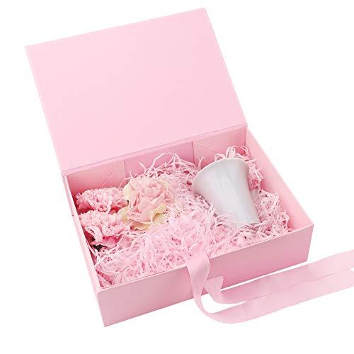 Boite Papier avec Ruban,Bowknot Boite Cadeau Boite cadeau magnétique boîte-cadeau de luxe de qualité supérieure avec ruban Boîte décorative Boîte de présentation rectangulaire pour la présent (Pink)