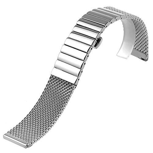 W-L Bande de Montre 18/20/22/24 Mm Wristband Luxe Bracelet en Acier Inoxydable Poli d'argent Shark Mesh Bande for Les Hommes Femmes Wristwatch (Band Width : 18mm)