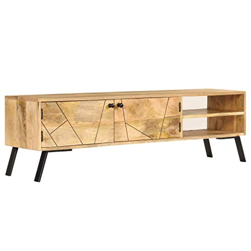 mewmewcat TV-Schrank Rustikal Fernsehtisch TV Lowboard Tisch Holz TV Board Mit Stauraum Massivholz Mango 140 x 30 x 40 cm