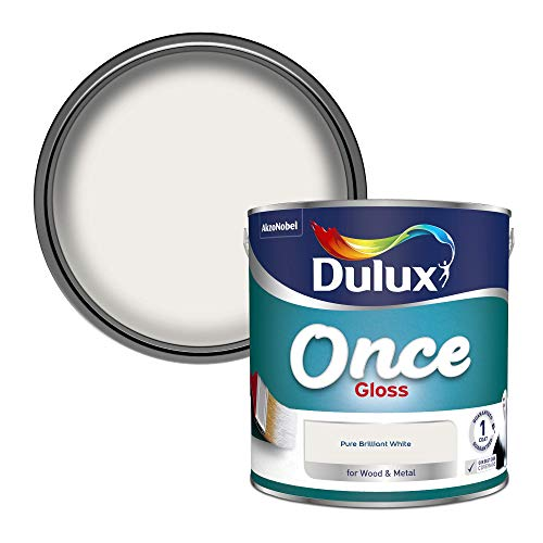 Dulux Once Gloss Paint For Wood And Metal - Pure Brilliant White 2. 5...