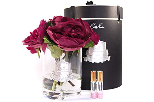 Côte Noire Gamme de luxe parfumée 5 pivoines avec bourgeons Bouquet de fleurs dans un vase en verre transparent - Bouquet Scarlett Rouge